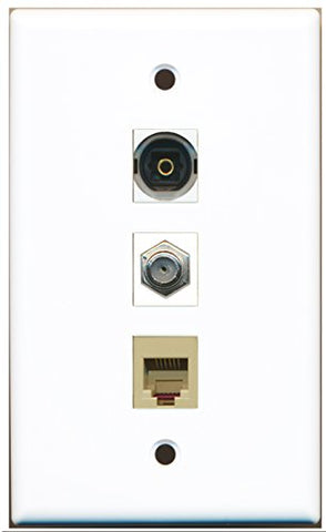 RiteAV - 1 Port Coax Cable TV- F-Type and 1 Port Phone RJ11 RJ12 Beige and 1 Port Toslink Wall Plate