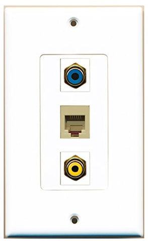 RiteAV - 1 Port RCA Yellow and 1 Port RCA Blue and 1 Port Phone RJ11 RJ12 Beige Decorative Wall Plate Decorative
