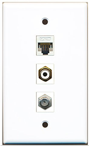 RiteAV - 1 Port RCA White and 1 Port Coax Cable TV- F-Type and 1 Port Cat5e Ethernet White Wall Plate