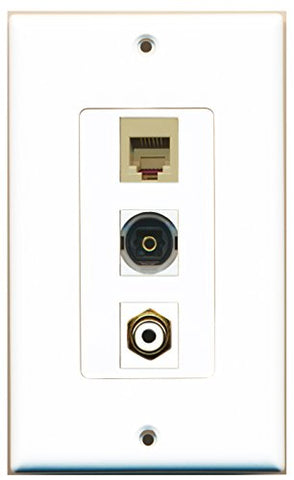 RiteAV - 1 Port RCA White and 1 Port Phone RJ11 RJ12 Beige and 1 Port Toslink Decorative Wall Plate Decorative