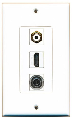 RiteAV - 1 Port HDMI and 1 Port RCA White and 1 Port 3.5mm Decorative Wall Plate