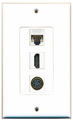 RiteAV - 1 Port HDMI and 1 Port S-Video and 1 Port Cat5e Ethernet White Decorative Wall Plate