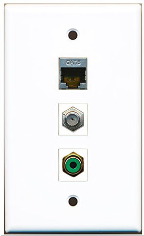 RiteAV - 1 Port RCA Green and 1 Port Coax Cable TV- F-Type and 1 Port Shielded Cat6 Ethernet Wall Plate