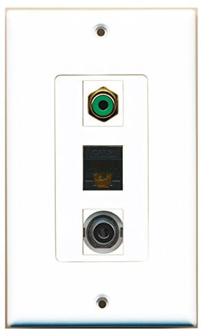 RiteAV - 1 Port RCA Green and 1 Port 3.5mm and 1 Port Cat6 Ethernet Black Decorative Wall Plate Decorative