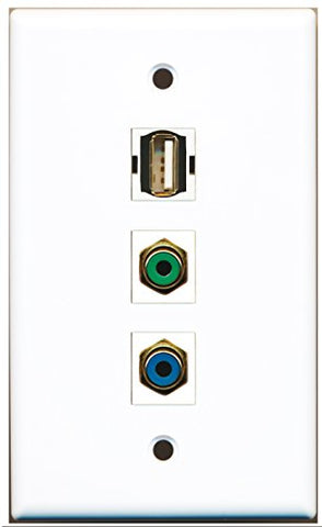 RiteAV - 1 Port RCA Green and 1 Port RCA Blue and 1 Port USB A-A Wall Plate