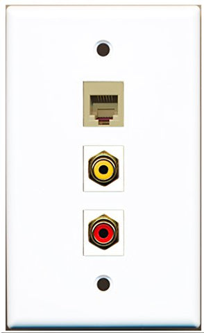 RiteAV - 1 Port RCA Red and 1 Port RCA Yellow and 1 Port Phone RJ11 RJ12 Beige Wall Plate