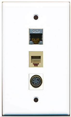 RiteAV - 1 Port Phone RJ11 RJ12 Beige and 1 Port S-Video and 1 Port Shielded Cat6 Ethernet Wall Plate
