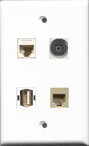 RiteAV 1 Port USB A-A and 1 Port Phone RJ11 RJ12 Beige and 1 Port Toslink and 1 Port Cat6 Ethernet White Wall Plate
