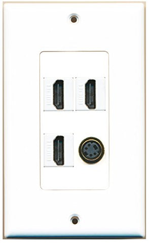 RiteAV - 3 Port HDMI 1 Port S-Video Wall Plate Decorative