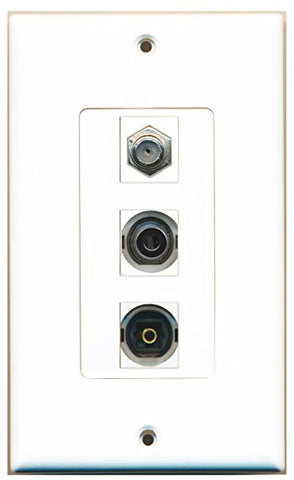RiteAV - 1 Port Coax Cable TV- F-Type and 1 Port Toslink and 1 Port 3.5mm Decorative Wall Plate Decorative