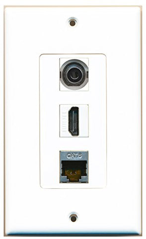 RiteAV - 1 Port HDMI and 1 Port Shielded Cat6 Ethernet and 1 Port 3.5mm Decorative Wall Plate