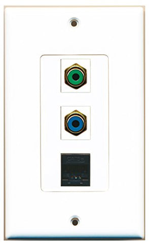 RiteAV - 1 Port RCA Green and 1 Port RCA Blue and 1 Port Cat5e Ethernet Black Decorative Wall Plate Decorative