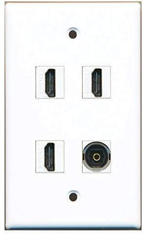 RiteAV - 3 x HDMI and 1 x Toslink Digital Audio Port Wall Plate White