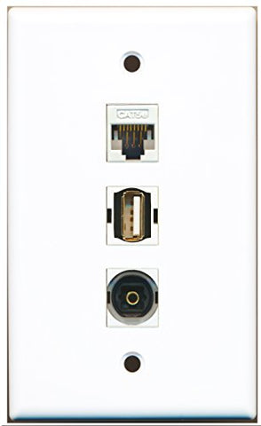 RiteAV - 1 Port USB A-A and 1 Port Toslink and 1 Port Cat5e Ethernet White Wall Plate