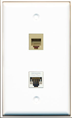 RiteAV - 1 x Phone Port RJ12 Beige Punchdown Type and 1 x Cat5e Ethernet Port Wall Plate White