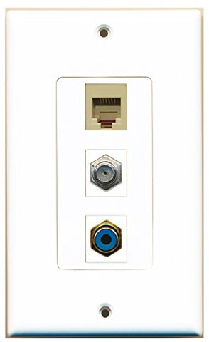 RiteAV - 1 Port RCA Blue and 1 Port Coax Cable TV- F-Type and 1 Port Phone RJ11 RJ12 Beige Decorative Wall Plate Decorative