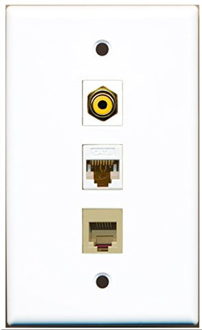 RiteAV - 1 Port RCA Yellow and 1 Port Phone RJ11 RJ12 Beige and 1 Port Cat6 Ethernet White Wall Plate