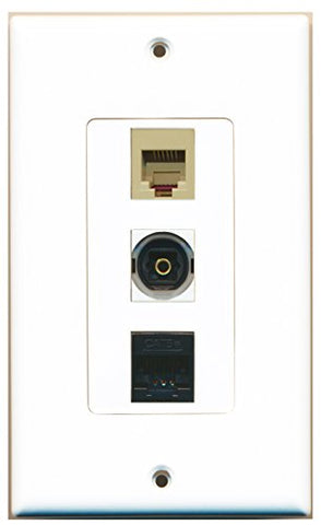 RiteAV - 1 Port Phone RJ11 RJ12 Beige and 1 Port Toslink and 1 Port Cat5e Ethernet Black Decorative Wall Plate Decorative