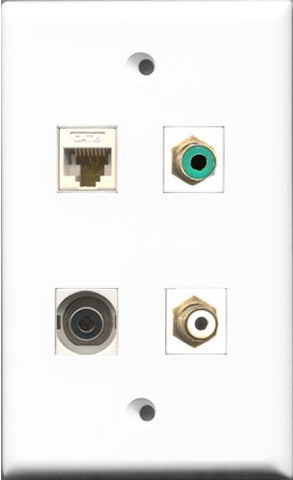 RiteAV 1 Port RCA White and 1 Port RCA Green and 1 Port 3.5mm and 1 Port Cat6 Ethernet White Wall Plate