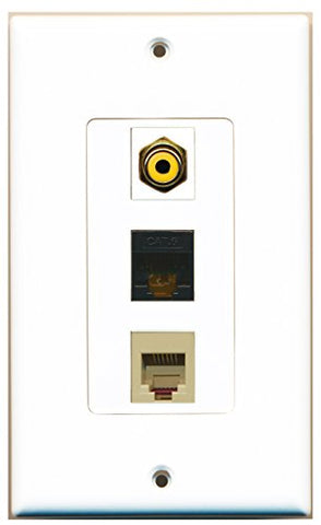 RiteAV - 1 Port RCA Yellow and 1 Port Phone RJ11 RJ12 Beige and 1 Port Cat6 Ethernet Black Decorative Wall Plate Decorative
