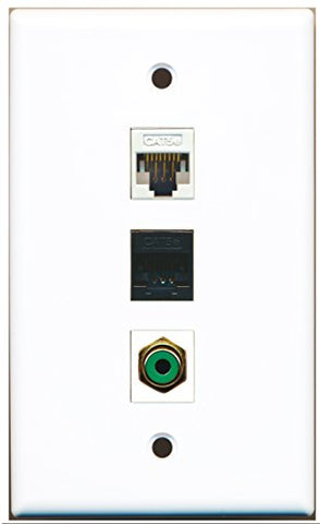 RiteAV - 1 Port RCA Green and 1 Port Cat5e Ethernet White and 1 Port Cat5e Ethernet Black Wall Plate