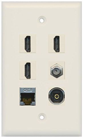 RiteAV - 3 HDMI 1 Port Coax Cable TV- F-Type Shielded Cat6 Ethernet Toslink Wall Plate - Light Almond