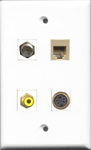 RiteAV 1 Port RCA Yellow and 1 Port Coax Cable TV- F-Type and 1 Port Phone RJ11 RJ12 Beige and 1 Port S-Video Wall Plate