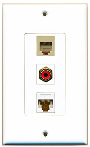 RiteAV - 1 Port RCA Red and 1 Port Phone RJ11 RJ12 Beige and 1 Port Cat6 Ethernet White Decorative Wall Plate Decorative