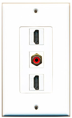 RiteAV - 2 Port HDMI and 1 Port RCA Red Decorative Wall Plate Decorative