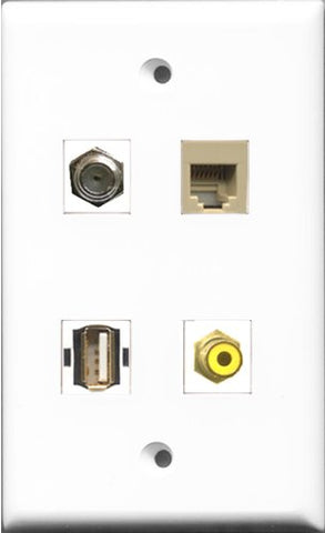 RiteAV 1 Port RCA Yellow and 1 Port Coax Cable TV- F-Type and 1 Port USB A-A and 1 Port Phone RJ11 RJ12 Beige Wall Plate