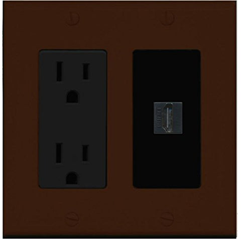 RiteAV - 15 Amp Power Outlet and 1 Port HDMI Decorative Type Wall Plate - Brown/Black