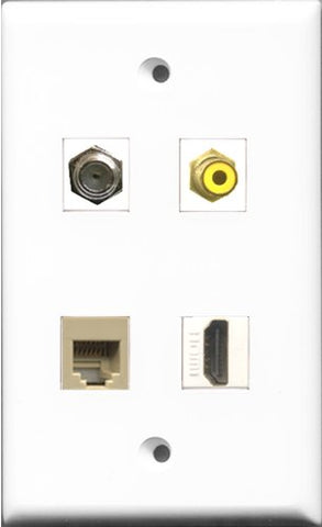 RiteAV 1 Port HDMI and 1 Port RCA Yellow and 1 Port Coax Cable TV- F-Type and 1 Port Phone RJ11 RJ12 Beige Wall Plate