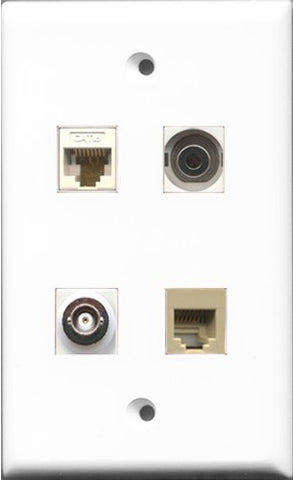 RiteAV 1 Port Phone RJ11 RJ12 Beige and 1 Port 3.5mm and 1 Port BNC and 1 Port Cat6 Ethernet White Wall Plate
