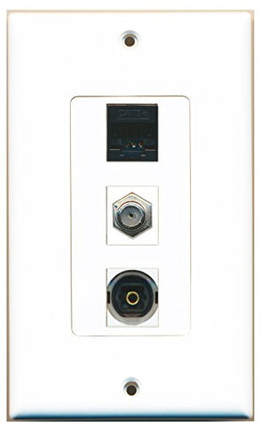 RiteAV - 1 Port Coax Cable TV- F-Type and 1 Port Toslink and 1 Port Cat5e Ethernet Black Decorative Wall Plate Decorative
