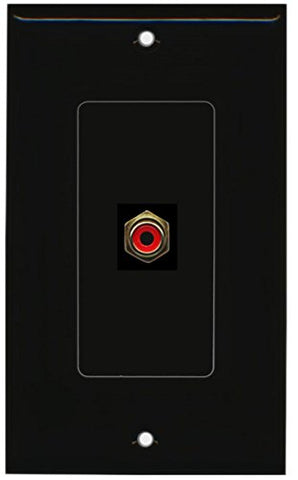 RiteAV - 1 RCA Red for Subwoofer Audio Port Wall Plate Decorative - Black