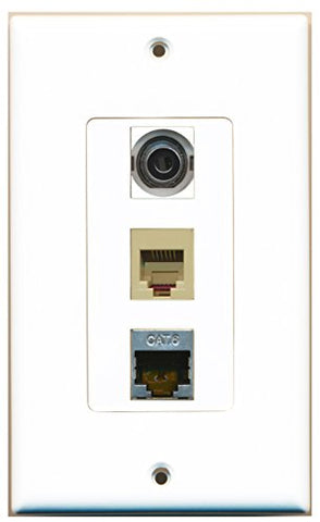 RiteAV - 1 Port Phone RJ11 RJ12 Beige and 1 Port Shielded Cat6 Ethernet and 1 Port 3.5mm Decorative Wall Plate Decorative