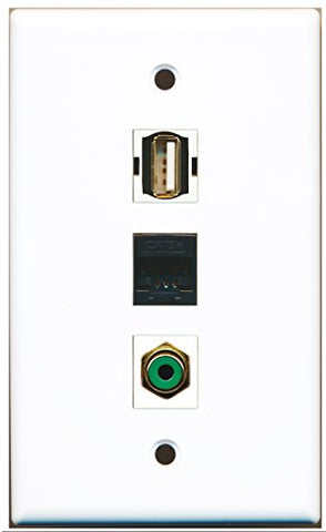 RiteAV - 1 Port RCA Green and 1 Port USB A-A and 1 Port Cat5e Ethernet Black Wall Plate