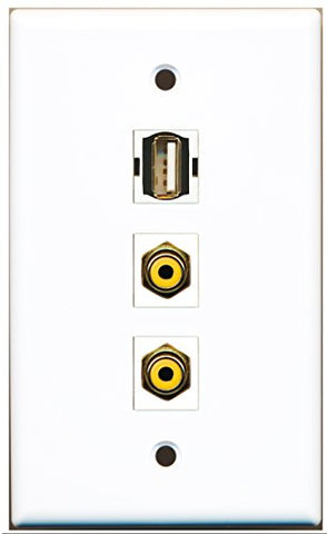 RiteAV - 2 Port RCA Yellow and 1 Port USB A-A Wall Plate