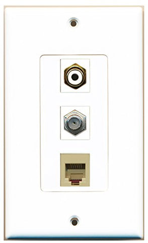 RiteAV - 1 Port RCA White and 1 Port Coax Cable TV- F-Type and 1 Port Phone RJ11 RJ12 Beige Decorative Wall Plate Decorative