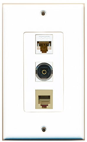 RiteAV - 1 Port Phone RJ11 RJ12 Beige and 1 Port Toslink and 1 Port Cat6 Ethernet White Decorative Wall Plate Decorative
