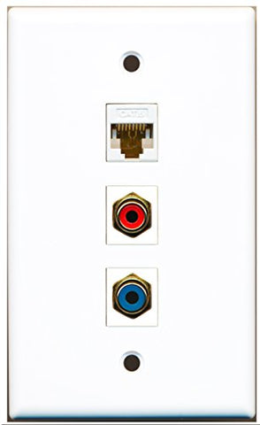 RiteAV - 1 Port RCA Red and 1 Port RCA Blue and 1 Port Cat6 Ethernet White Wall Plate