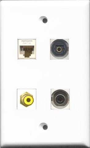 RiteAV 1 Port RCA Yellow and 1 Port Toslink and 1 Port 3.5mm and 1 Port Cat6 Ethernet White Wall Plate