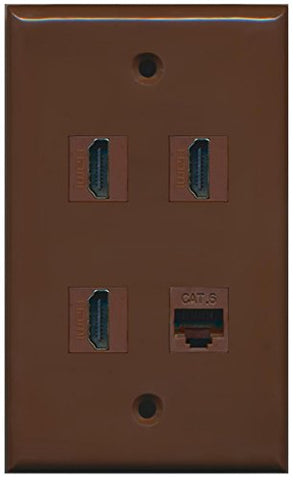 RiteAV - 3 Port HDMI 1 Port Cat6 Ethernet Wall Plate - Brown