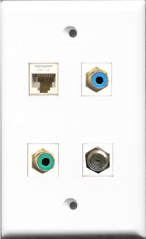 RiteAV 1 Port RCA Green and 1 Port RCA Blue and 1 Port Coax Cable TV- F-Type and 1 Port Cat6 Ethernet White Wall Plate