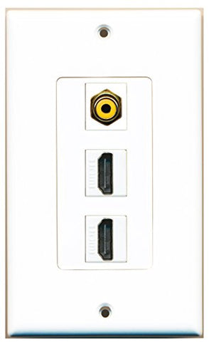 RiteAV - 1 RCA Yellow Port and 2 HDMI Female Decorative Wall Plate