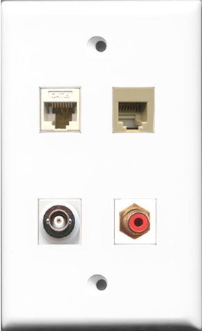 RiteAV 1 Port RCA Red and 1 Port Phone RJ11 RJ12 Beige and 1 Port BNC and 1 Port Cat6 Ethernet White Wall Plate