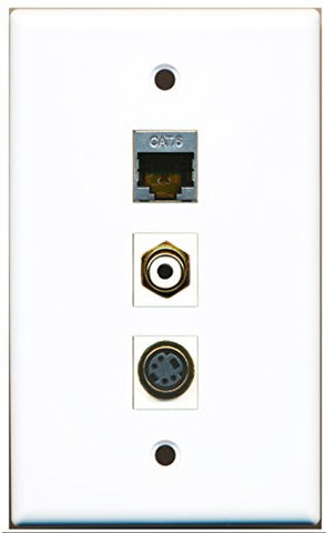 RiteAV - 1 Port RCA White and 1 Port S-Video and 1 Port Shielded Cat6 Ethernet Wall Plate