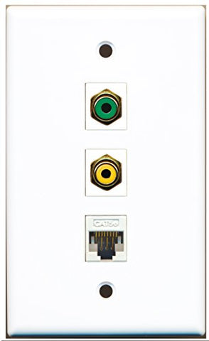 RiteAV - 1 Port RCA Yellow and 1 Port RCA Green and 1 Port Cat5e Ethernet White Wall Plate