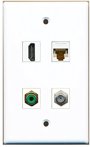 RiteAV - 1 Port HDMI 1 Port RCA Green 1 Port Coax Cable TV- F-Type 1 Port Cat6 Ethernet White Wall Plate