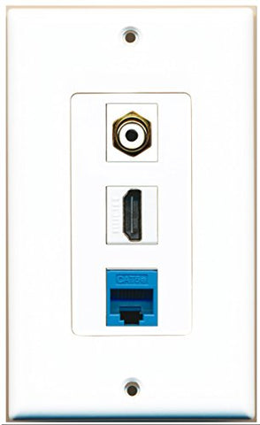 RiteAV - 1 Port HDMI 1 RCA White 1 Cat5e Ethernet Blue Wall Plate Decorative